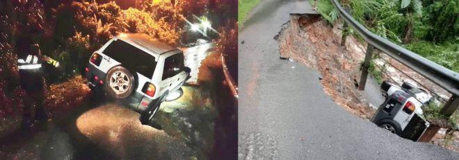 Keadaan kereta SUV yang dinaiki keempat-empat sahabat terbabit yang sempat keluar sebelum ia terbalik.