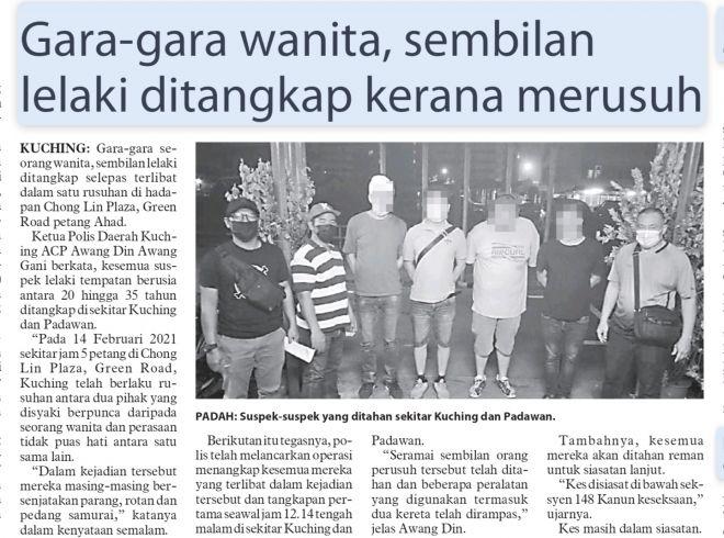 Berita mengenai penangkapan suspek kes pergaduhan Jalan Green.