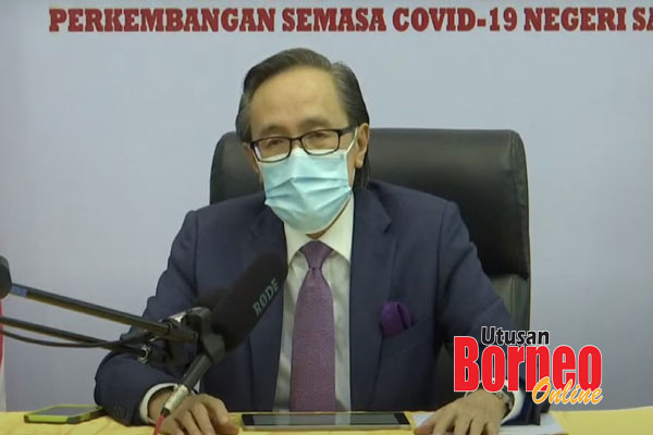 Masidi menjawab soalan pada sidang media perkembangan semasa COVID-19 Sabah.