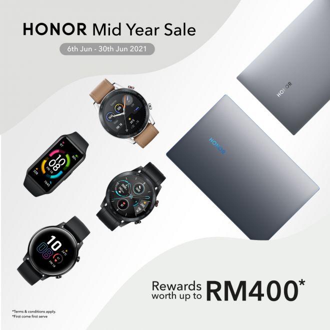 Jualan Pertengahan Tahun HONOR menawarkan ganjaran bernilai sehingga RM400