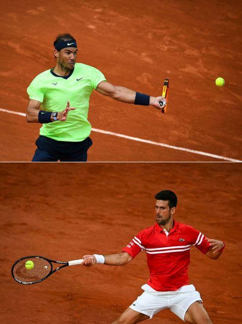 Gambar kombinasi menunjukkan Nadal (atas) dan Djokovic (bawah) menentang lawan masing-masing dalam Kejohanan Terbuka Perancis di Paris. — Gambar AFP