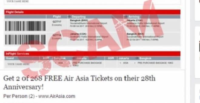 Orang ramai diminta berwaspada dengan penipuan menggunakan jenama AirAsia