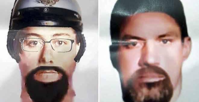DICARI: Lakaran wajah dua suspek yang dipercayai menembak mati imam dan pensyarah dari Palestin, Dr Fadi Mohammed Al Batsh dekat kediamannya di Setapak pada Sabtu lepas. — Gambar Bernama
