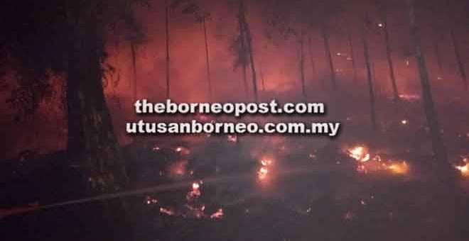 MARAK: Api kelihatan membakar hutan di Kampung Punggu Empelanjau, Sri Aman malam kelmarin.