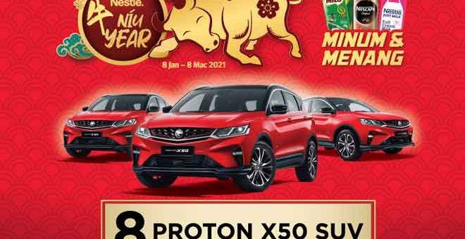 LUMAYAN: Jangan lepaskan peluang anda untuk menyertai Peraduan Nestlé Niu Year di mana rakyat Malaysia berpeluang memenangi hadiah-hadiah lumayan bernilai lebih RM900,000 atau Proton X50.