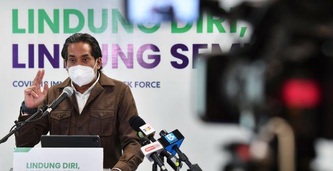 Khairy pada sidang media perkembangan Program Imunisasi COVID-19 Kebangsaan di ibu pejabat CITF, hari ini. - Gambar Bernama