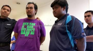 BERSALAH: Mohd Afiq (dua kiri) dan Mohamad Aidilfitiri (dua kanan) mengaku bersalah di Mahkamah Sesyen Shah Alam semalam atas tuduhan cuba membunuh seorang wanita warga asing dengan mencampakknya ke dalam Sungai Klang, pada 6 Feb lepas. — Gambar Bernama