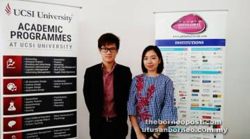 IMPIAN JADI NYATA: Kaunselor UCSI, Joseph Heo Voon Kong (kiri) dan Jun Teo semasa mengadakan Hari Terbuka UCSI semalam.
