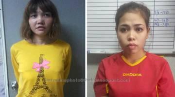 DIBICARAKAN: Gambar kombinasi menunjukkan tertuduh Thi Huong (kiri) dan Siti Aishah yang menghadapi perbicaraan membunuh Kim Jong Nam di ibu negara semalam. — Gambar Reuters