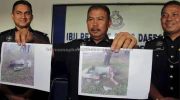 MASIH DALAM SIASATAN: Noor Hashim (tengah) menunjukkan gambar mangsa 30-an tanpa identiti yang disyaki membakar dirinya menggunakan minyak petrol pada sidang media di Ibu Pejabat Polis Daerah Nusajaya di Johor Bahru, semalam. Mangsa dipercayai 90 peratus terbakar dan mangsa hanya berpakaian seluar pendek. — Gambar Bernama