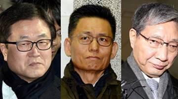 TERJEJAS: Kombinasi gambar fail menunjukkan (dari kiri) Lee, presiden Samsung Electronics Park Sang-jin dan naib presiden eksekutifnya Hwang Sung-soo serta presiden Samsung Group Chang Choong-ki dan naib pengerusinya Choi Gee-sung. — Gambar AFP/Reuters