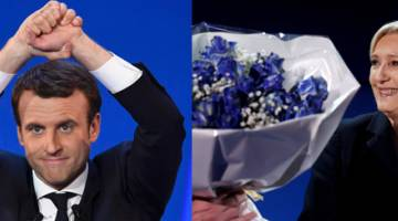 CABARAN SENGIT: Kombinasi gambar menunjukkan Macron (kiri) di Parc des Expositions di Paris dan Le Pen di Henin-Beaumont, kelmarin. — Gambar AFP/Reuters