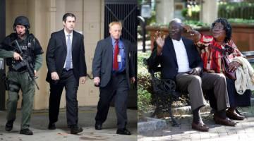 BERSALAH: Kombinasi gambar menunjukkan Slager dieskot keluar dari mahkamah pada 5 Disember tahun lepas dan ibu bapa Scott, Walter Scott Sr. dan Judy, kelihatan ceria selepas perbicaraan di Charleston, kelmarin. — Gambar Reuters