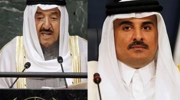 PERUNDING KRISIS: Kombinasi gambar menunjukkan Sheikh Sabah (kiri) berucap ketika menghadiri persidangan PBB di Manhattan, New York dalam gambar fail 26 September, 2015 manakala Sheikh Tamim menghadiri Sidang Kemuncak Arab Ke-26 di Kuwait City pada 25 Mac tahun sebelumnya. — Gambar Reuters
