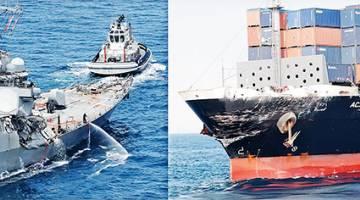SITUASI TERUK: Kombinasi gambar serahan Pengawal Pantai Jepun semalam menunjukkan kerosakan pada kedua-dua kapal USS Fitzgerald (kiri) dan ACX Crystal di luar pantai Shimoda. — Gambar AFP