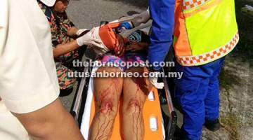 PARAH: Keadaan salah seorang mangsa cedera dalam kemalangan tersebut.