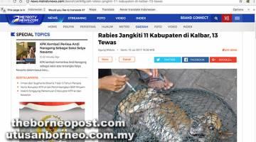 RABIES KALBAR: Laporan akhbar Indonesia, Metrotvnews.com mengenai situasi rabies di Kalimantan Barat.
