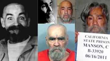 PSIKOPAT: Kombinasi gambar (ikut arah jam dari kiri) menunjukkan Manson berjenaka ketika dihantar pulang ke selnya selesai temu bual eksklusif dengan Reuters pada 25 Ogos, 1989; bercakap semasa temu bual tersebut; dalam gambar serahan penjara pada 14 Ogos lalu; dalam gambar penjara bertarikh 16 Jun, 2011 yang diserahkan kepada Reuters pada 8 April, 2012; dan dalam gambar serahan penjara pada 18 Mac, 2009. — Gambar Reuters