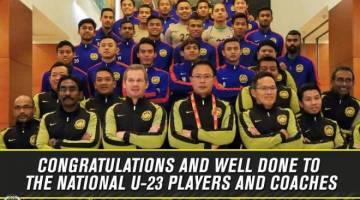 Para pemain bersama barisan kejurulatihan skuad B-23 kebangsaan - Foto Facebook Football Association of Malaysia (Official)