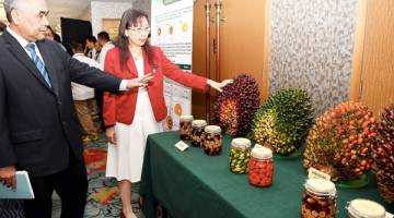 TERESA diberi taklimat oleh Pengerusi Lembaga Minyak Sawit Malaysia Tan Sri Mohd Bakke Salleh tentang jenis baka sawit pada pameran sempena Persidangan Kebangsaan Pekebun Kecil Sawit 2018 hari ini.