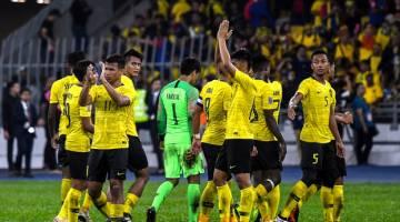 Aksi pemain kebangsaan selepas menentang Vietnam pada perlawanan akhir pertama Piala AFF Suzuki 2018 di Stadium Nasional Bukit Jalil, malam tadi. - Gambar Bernama