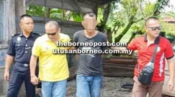 DITAHAN: Salah seorang suspek berjaya ditangkap dan dibawa ke Balai Polis Pusat Miri untuk siasatan lanjut.