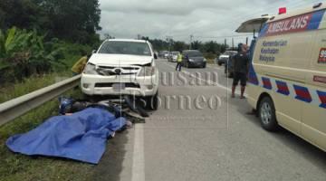 Keadaan di tempat kejadian selepas berlakunya kemalangan di KM 52, Jalan Mukah-Selangau hari ini.