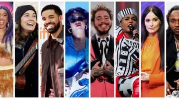 CALON ALBUM TERBAIK:Gambar kombinasi yang disusun oleh Reuters ini menunjukkan barisan calon Anugerah Grammy untuk kategori 'Album of the Year'  iaitu (dari kiri) Cardi B, Brandi Carlile, Drake, H.E.R., Post Malone, Janelle Monae, Kacey Musgraves dan Kendrick Lamar.  — Gambar Reuters