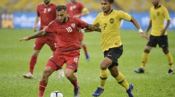AKSI TERBAIK: Mohd Faiz (kanan) mengasak pemain Afghanistan Haroon Amiri (kiri) pada separuh akhir Kejohanan Piala Airmarine 2019 di Stadium Nasional Bukit Jalil, Kuala Lumpur Sabtu lepas. — Gambar Bernama