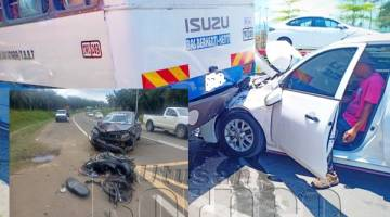 (Gambar besar) Perlanggaran melibatkan sebuah bas henti-henti dengan sebuah kereta, manakala (gambar kecil) kemalangan di hadapan simpang masuk ke SMK Abaka yang melibatkan seorang penunggang motosikal mengalami kecederaan parah.