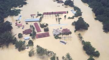IMBAS KEMBALI: SK Kuala Muput dilanda banjir pada Januari, 2018.