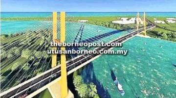 IKONIK: Lakaran pelukis jambatan ikonik Kuala Kemena ke Jepak.
