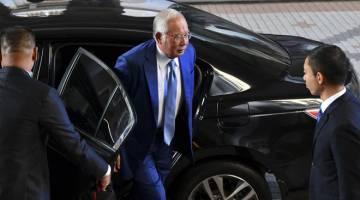 GAGAL RAYUAN: Najib gagal dalam rayuan akhir di Mahkamah Persekutuan semalam bagi menangguhkan perbicaraan kes 1Malaysia Development Berhad (1MDB) yang dijadualkan 19 Ogos depan. — Gambar Bernama