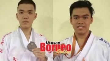 CEMERLANG: Chang (kiri) dan Michel memperagakan pingat dimenangi mereka pada kejohanan karate dunia di Iran.