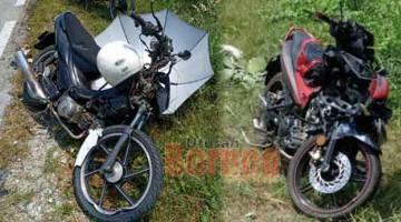 REMUK: Kedua-dua motosikal mangsa yang remuk akibat pertembungan di Jalan Kampung Sangki-Tebelu, Sebuyau kelmarin.