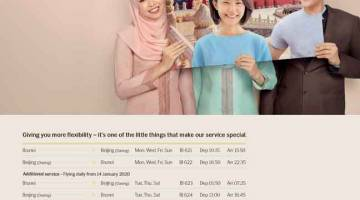 LALUAN BAHARU: Jadual penerbangan Royal Brunei Airlines dari Brunei ke Beijing dan sebaliknya.