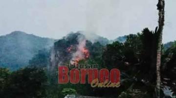 TRAGIK: Kawasan hutan yang didapati terbakar pagi semalam.