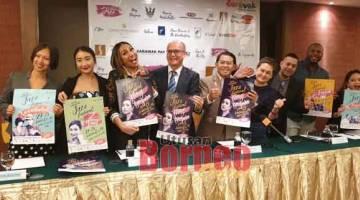 JAZZ: Edwin (lima kiri) dan Gracie (enam kiri) bersama Ning Baizura dan artis lain yang akan muncul di pentas KWJF 2019.