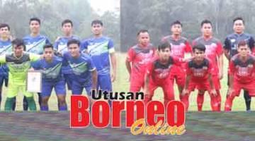 HEBAT: Serian Project Team (kiri) dan Kelab Sukan Reakreasi Ulu Simunjan (KSRUS) masih kekal tidak terkalah dalam saingan Liga Serian/Lea Sports Centre 2019.
