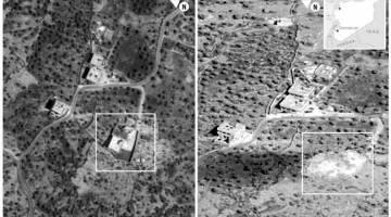 MUSNAH: Gambar menunjukkan sebelum dan selepas serbuan ke atas pekarangan di mana                 al-Baghdadi bersembunyi di wilayah Idlib, di barat laut Syria pada 26 Oktober lepas. — Gambar Reuters