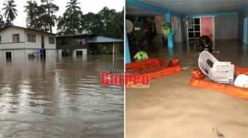 Rumah dinaiki air di Kampung Siang-Siang, Lawas. - Gambar ihsan JPBN Sarawak
