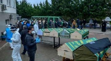 TATAPAN TERAKHIR: Keranda mengandungi jenazah mangsa yang meninggal dunia akibat COVID-19 dipamerkan di hadapan anggota keluarga dan pegawai, semuanya memakai penutup hidung dan mulut, di luar rumah mayat di Istanbul, kelmarin ketika wabak berbahaya itu sudah mengorbankan 200 nyawa di Turki. — Gambar AFP