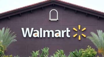 KES MAUT: Gambar fail 23 Mei, 2019 menunjukkan logo kedai Walmart pada dinding Walmart Supercenter di Rosemead, California.  — Gambar AFP