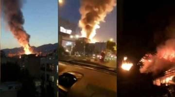 LETUPAN GAS: Gabungan gambar diperolehi daripada agensi berita Iran Press menunjukkan kejadian letupan di sebuah klinik              di utara Tehran kelmarin. — Gambar AFP