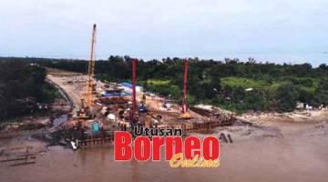 KEADAAN KEMAJUAN: Kerja-kerja pembinaan Jambatan Kuala Kemena-Jepak dilaksanakan di kawasan seberang Jepak.