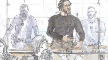 DIHUKUM PENJARA: Gambar ilustrasi bertarikh 25 Jun lepas menunjukkan Tyler Vilus semasa perbicaraannya di mahkamah di Paris, Perancis. — Gambar AFP