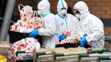 AGIH MAKANAN: Anggota Pasukan Bomba Melbourne bersedia untuk membawa bungkusan makanan kepada penduduk yang diarah duduk di rumah di estet perumahan awam ketika Melbourne semalam kembali melaksanakan sekatan pergerakan ketat untuk membendung peningkatan semula kes COVID-19. — Gambar AFP