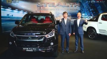 EDISI TERHAD: (Dari kanan) Suzuki dan Koji Nakamura memperkenalkan Isuzu D-Max Stealth semalam.