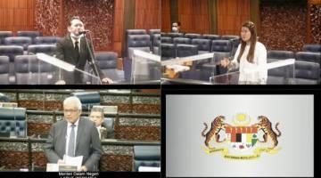 SOAL JAWAP: Vivian (kanan atas) bertanya mengenai isu PTI kepada Hamzah (kiri bawah).