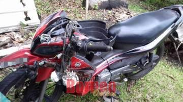 ROSAK: Keadaan motosikal ditunggang mangsa selepas kemalangan terbabit.